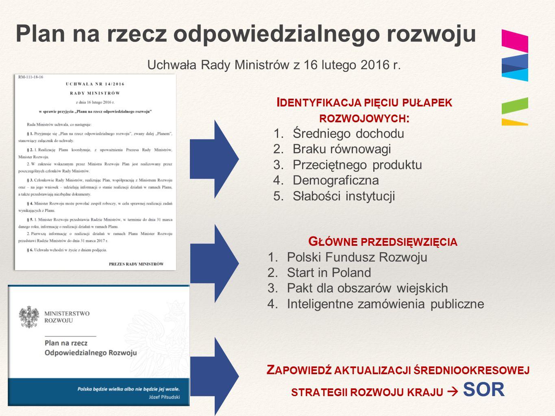 Plan na rzecz odpowiedzialnego rozwoju Uchwała Rady Ministrów z 16 lutego 2016 r. I DENTYFIKACJA PIĘCIU PUŁAPEK ROZWOJOWYCH : 1.Średniego dochodu 2.Br
