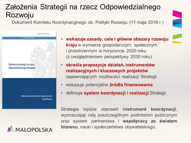 Założenia Strategii na rzecz Odpowiedzialnego Rozwoju wskazuje zasady, cele i główne obszary rozwoju kraju w wymiarze gospodarczym, społecznym i przestrzennym w horyzoncie 2020 roku (z uwzględnieniem perspektywy 2030 roku) określa propozycje działań, instrumentów realizacyjnych i kluczowych projektów zapewniających możliwości realizacji Strategii wskazuje potencjalne źródła finansowania definiuje system koordynacji i realizacji Strategii Strategia będzie stanowić instrument koordynacji, wyznaczając rolę poszczególnym podmiotom publicznym oraz system partnerstwa i współpracy ze światem biznesu, nauki i społeczeństwa obywatelskiego.