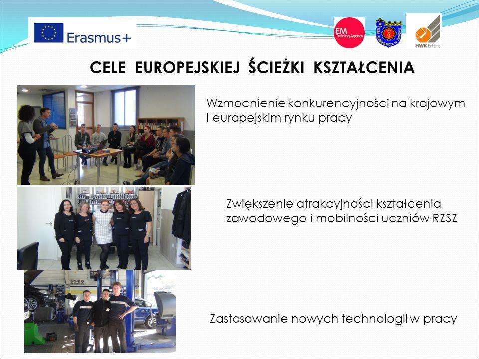 CELE EUROPEJSKIEJ ŚCIEŻKI KSZTAŁCENIA Wzmocnienie konkurencyjności na krajowym i europejskim rynku pracy Zwiększenie atrakcyjności kształcenia zawodowego i mobilności uczniów RZSZ Zastosowanie nowych technologii w pracy