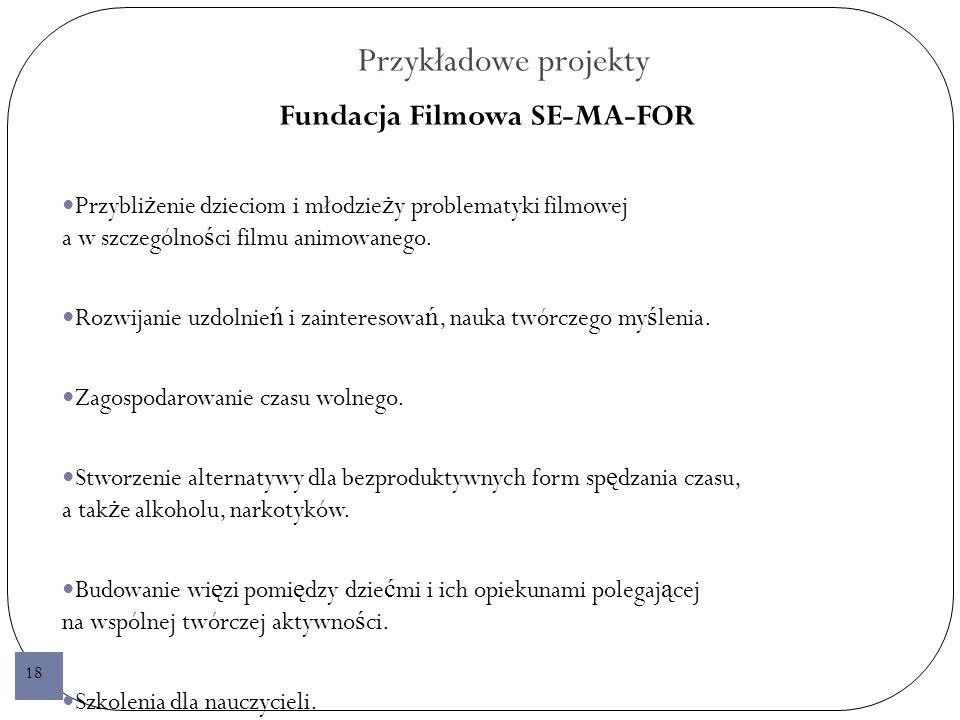 Przykładowe projekty Fundacja Filmowa SE-MA-FOR Przybli ż enie dzieciom i młodzie ż y problematyki filmowej a w szczególno ś ci filmu animowanego.