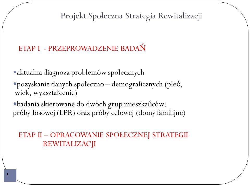 Projekt Społeczna Strategia Rewitalizacji ETAP I - PRZEPROWADZENIE BADA Ń aktualna diagnoza problemów społecznych pozyskanie danych społeczno – demograficznych (płe ć, wiek, wykształcenie) badania skierowane do dwóch grup mieszka ń ców: próby losowej (LPR) oraz próby celowej (domy familijne) ETAP II – OPRACOWANIE SPOŁECZNEJ STRATEGII REWITALIZACJI 5