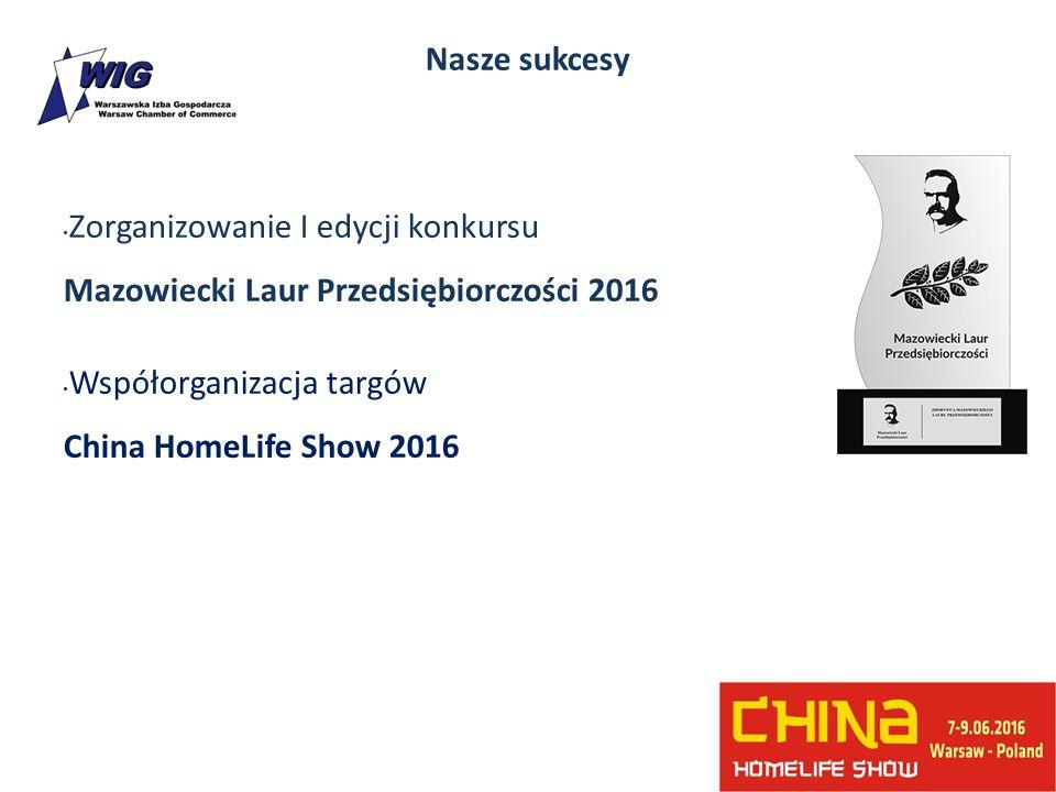 Nasze sukcesy Zorganizowanie I edycji konkursu Mazowiecki Laur Przedsiębiorczości 2016 Współorganizacja targów China HomeLife Show 2016