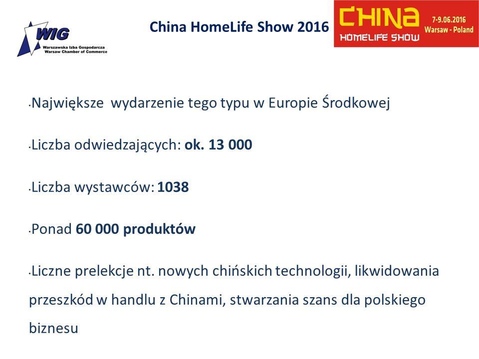 China HomeLife Show 2016 Największe wydarzenie tego typu w Europie Środkowej Liczba odwiedzających: ok. 13 000 Liczba wystawców: 1038 Ponad 60 000 pro