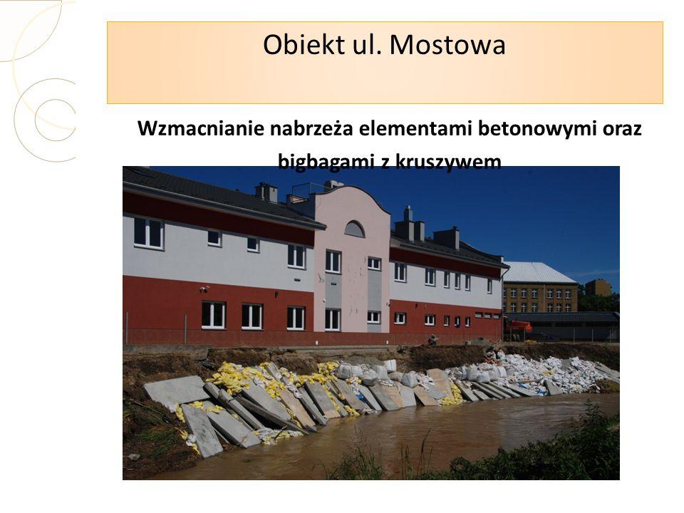 Obiekt ul. Mostowa Wzmacnianie nabrzeża elementami betonowymi oraz bigbagami z kruszywem