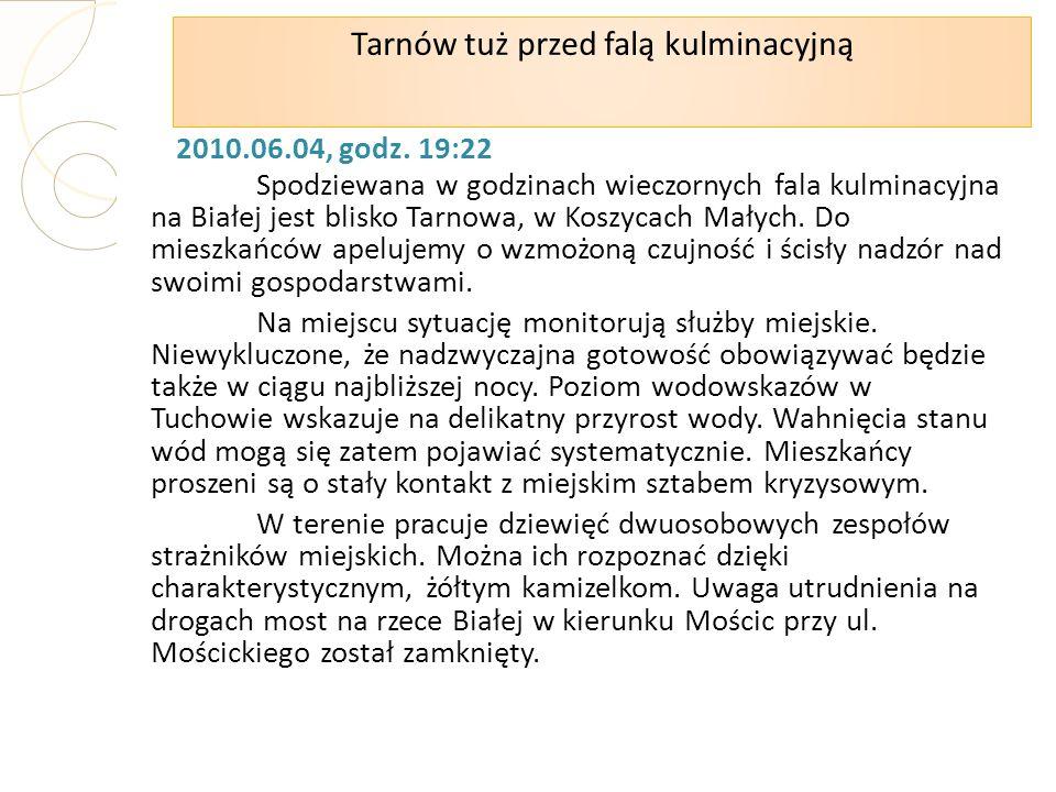 2010.06.04, godz. 19:22 Spodziewana w godzinach wieczornych fala kulminacyjna na Białej jest blisko Tarnowa, w Koszycach Małych. Do mieszkańców apeluj