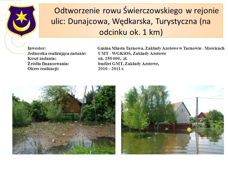 Inwestor: Gmina Miasta Tarnowa, Zakłady Azotowe w Tarnowie - Mościcach Jednostka realizująca zadanie: UMT - WGKiOŚ, Zakłady Azotowe Koszt zadania: ok.