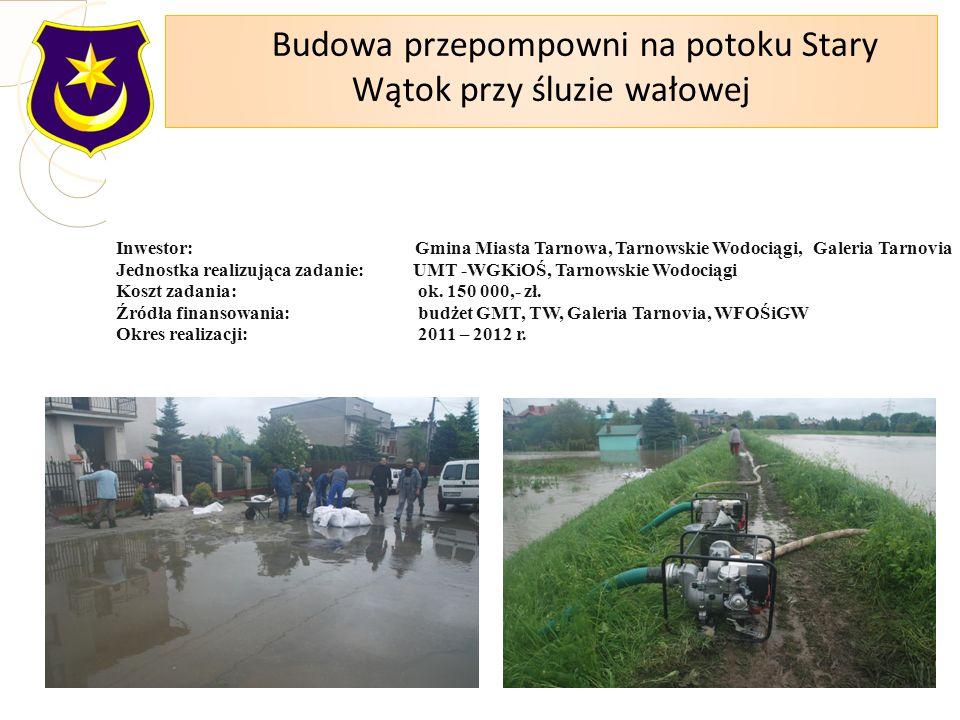 Inwestor: Gmina Miasta Tarnowa, Tarnowskie Wodociągi, Galeria Tarnovia Jednostka realizująca zadanie: UMT -WGKiOŚ, Tarnowskie Wodociągi Koszt zadania: