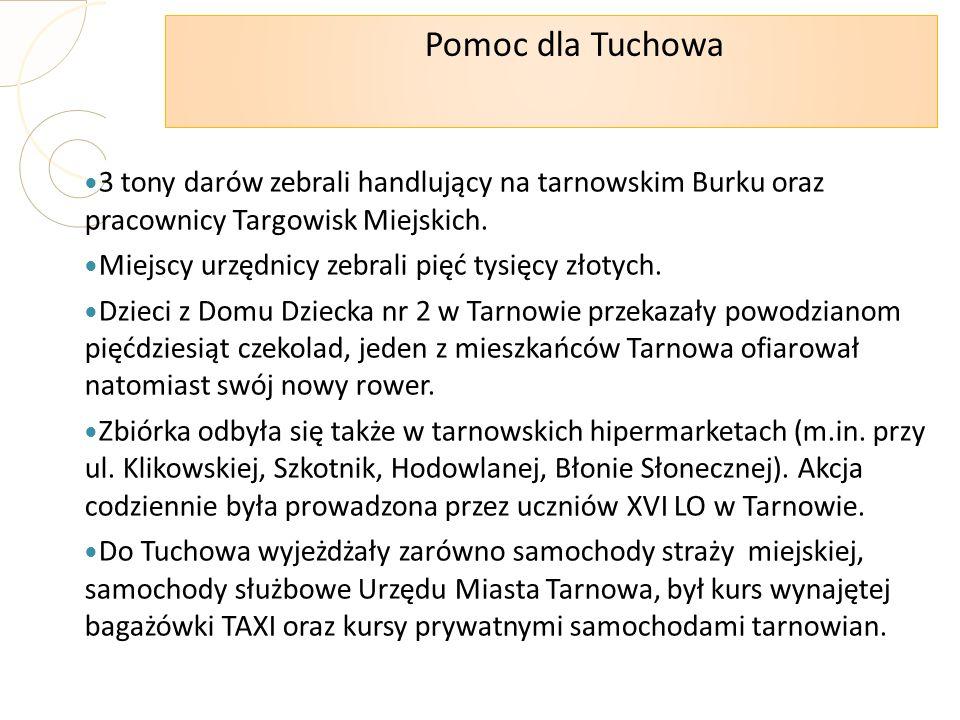 Pomoc dla Tuchowa 3 tony darów zebrali handlujący na tarnowskim Burku oraz pracownicy Targowisk Miejskich. Miejscy urzędnicy zebrali pięć tysięcy złot