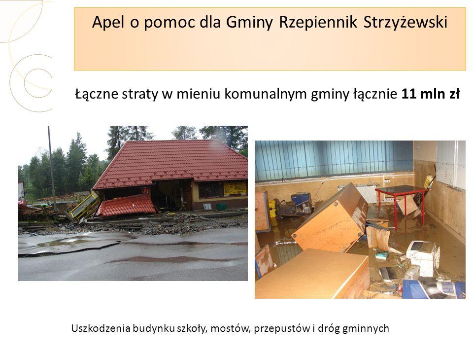 Apel o pomoc dla Gminy Rzepiennik Strzyżewski Łączne straty w mieniu komunalnym gminy łącznie 11 mln zł Uszkodzenia budynku szkoły, mostów, przepustów