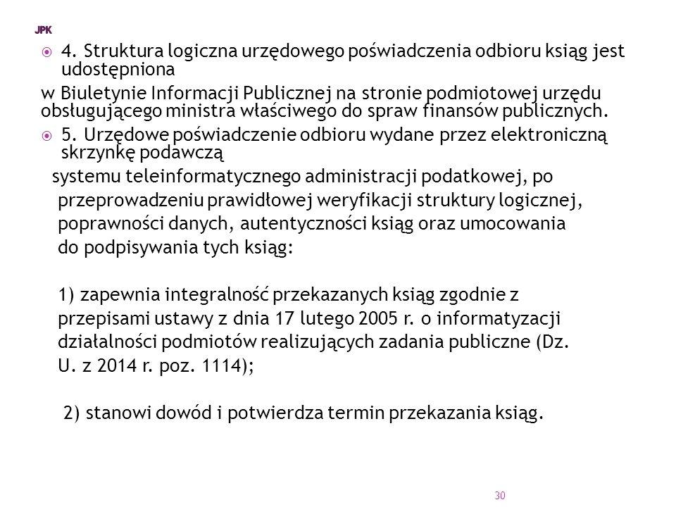  4. Struktura logiczna urzędowego poświadczenia odbioru ksiąg jest udostępniona w Biuletynie Informacji Publicznej na stronie podmiotowej urzędu obsł