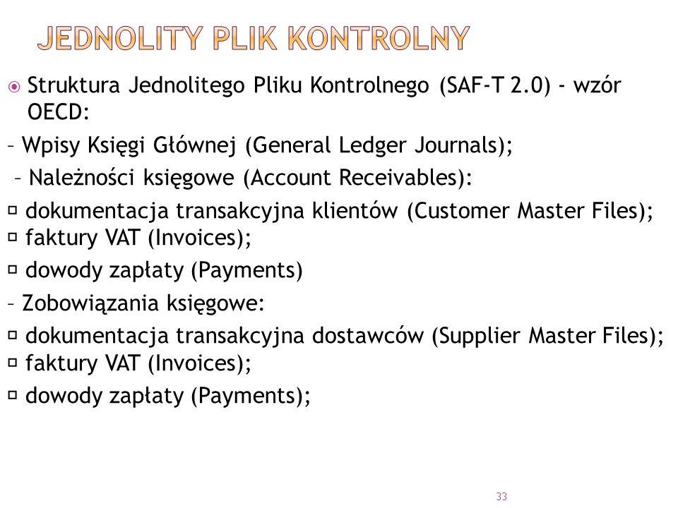  Struktura Jednolitego Pliku Kontrolnego (SAF-T 2.0) - wzór OECD: – Wpisy Księgi Głównej (General Ledger Journals); – Należności księgowe (Account Receivables):  dokumentacja transakcyjna klientów (Customer Master Files);  faktury VAT (Invoices);  dowody zapłaty (Payments) – Zobowiązania księgowe:  dokumentacja transakcyjna dostawców (Supplier Master Files);  faktury VAT (Invoices);  dowody zapłaty (Payments); 33