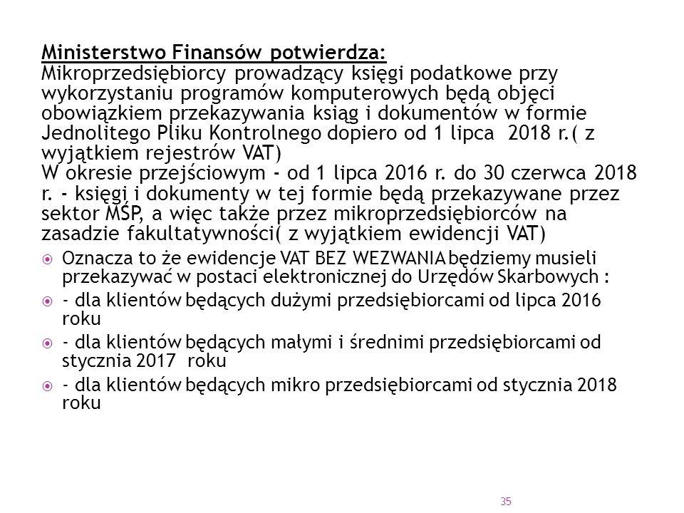 Ministerstwo Finansów potwierdza: Mikroprzedsiębiorcy prowadzący księgi podatkowe przy wykorzystaniu programów komputerowych będą objęci obowiązkiem przekazywania ksiąg i dokumentów w formie Jednolitego Pliku Kontrolnego dopiero od 1 lipca 2018 r.( z wyjątkiem rejestrów VAT) W okresie przejściowym - od 1 lipca 2016 r.