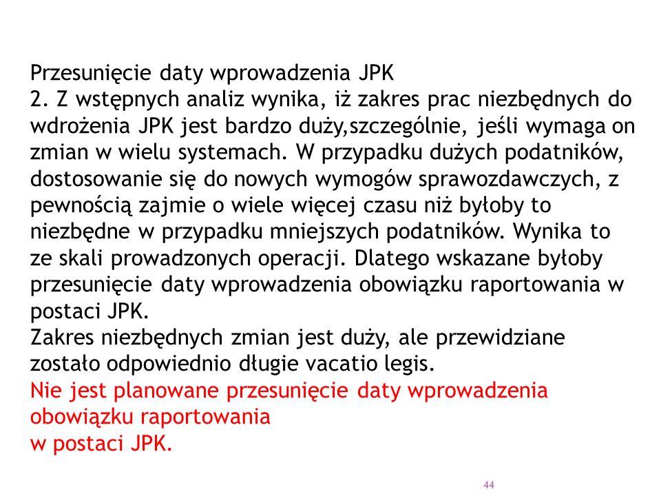 44 Przesunięcie daty wprowadzenia JPK 2.