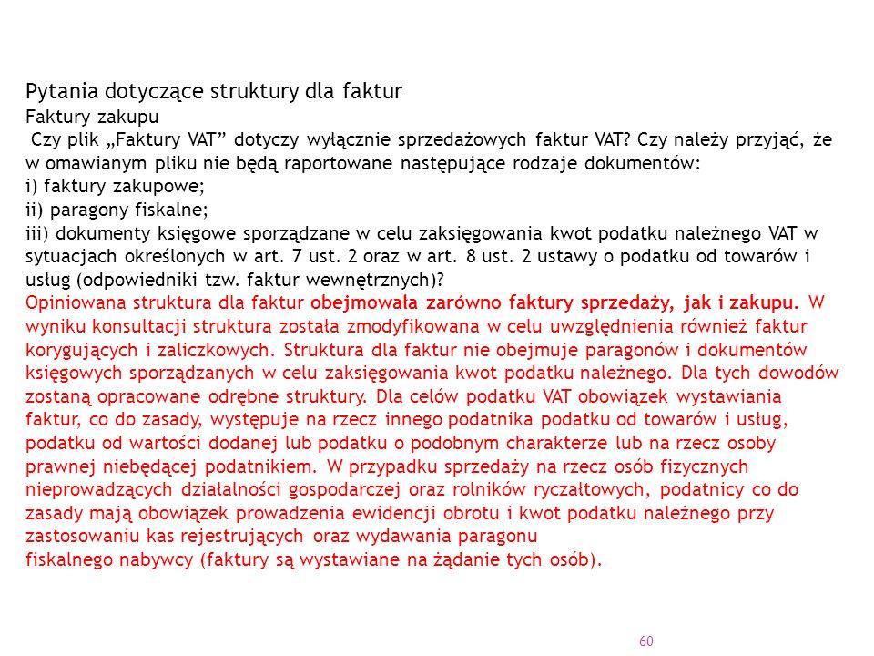 """60 Pytania dotyczące struktury dla faktur Faktury zakupu Czy plik """"Faktury VAT dotyczy wyłącznie sprzedażowych faktur VAT."""