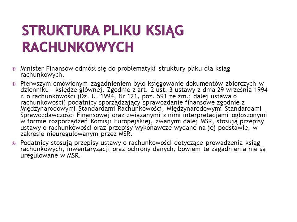  Minister Finansów odniósł się do problematyki struktury pliku dla ksiąg rachunkowych.