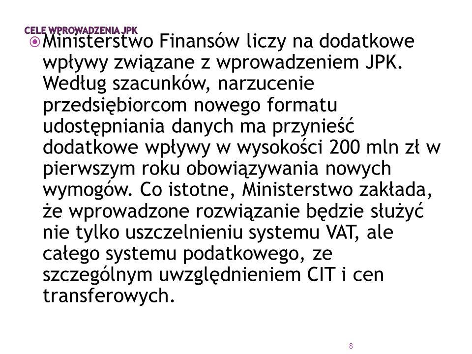  Ministerstwo Finansów liczy na dodatkowe wpływy związane z wprowadzeniem JPK.