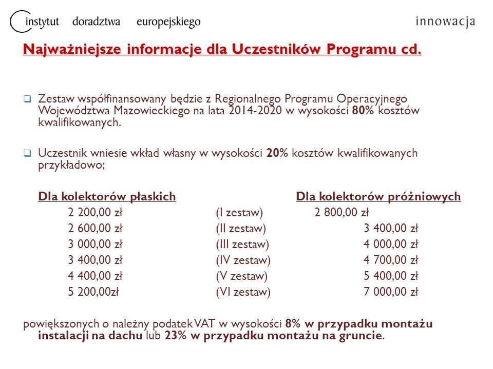 Najważniejsze informacje dla Uczestników Programu cd.  Zestaw współfinansowany będzie z Regionalnego Programu Operacyjnego Województwa Mazowieckiego