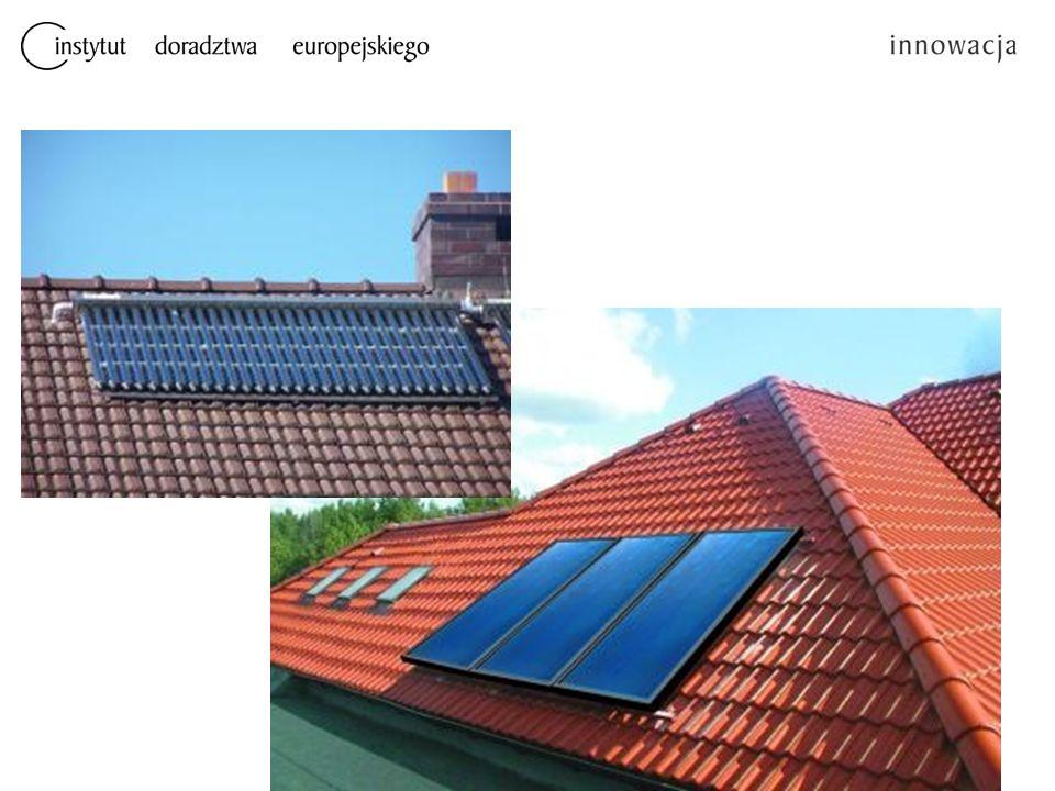 Kolektory słoneczne Kolektory słoneczne to urządzenia do absorpcji promieniowania słonecznego i wykorzystywania jego energii do podgrzewania nośnika ciepła Uzyskana w ten sposób energia cieplna gromadzona jest w zasobnikach, w następstwie czego może być zastosowana do podgrzewania wody.