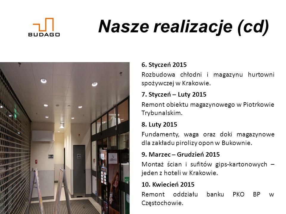 Nasze realizacje (cd) 6.Styczeń 2015 Rozbudowa chłodni i magazynu hurtowni spożywczej w Krakowie.