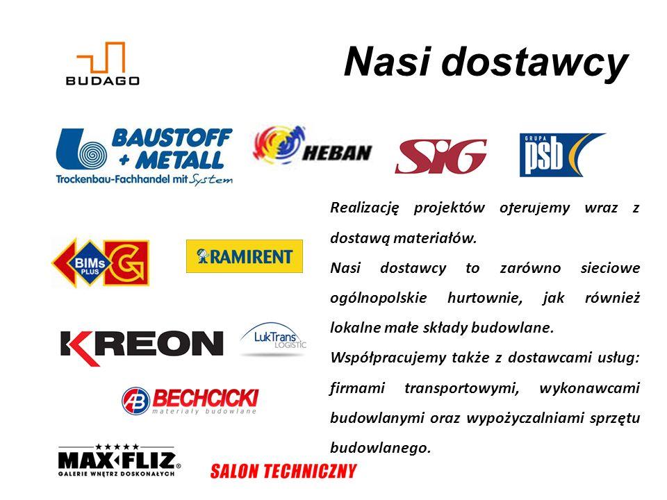 Nasi dostawcy Realizację projektów oferujemy wraz z dostawą materiałów.