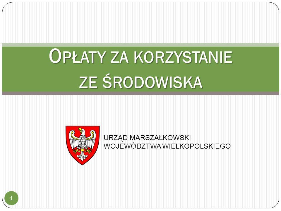 S TAWKI OPŁAT 12 Rok 2015 - obwieszczenie Ministra Środowiska z dnia 11 sierpnia 2014 r.