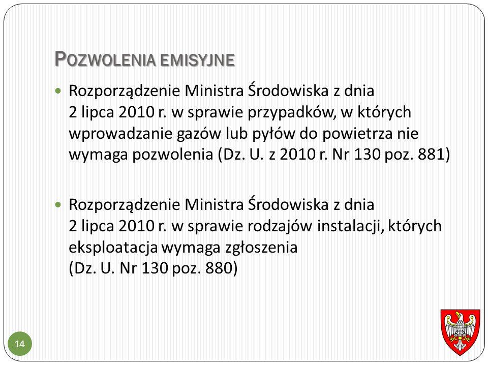 P OZWOLENIA EMISYJNE 14 Rozporządzenie Ministra Środowiska z dnia 2 lipca 2010 r. w sprawie przypadków, w których wprowadzanie gazów lub pyłów do powi