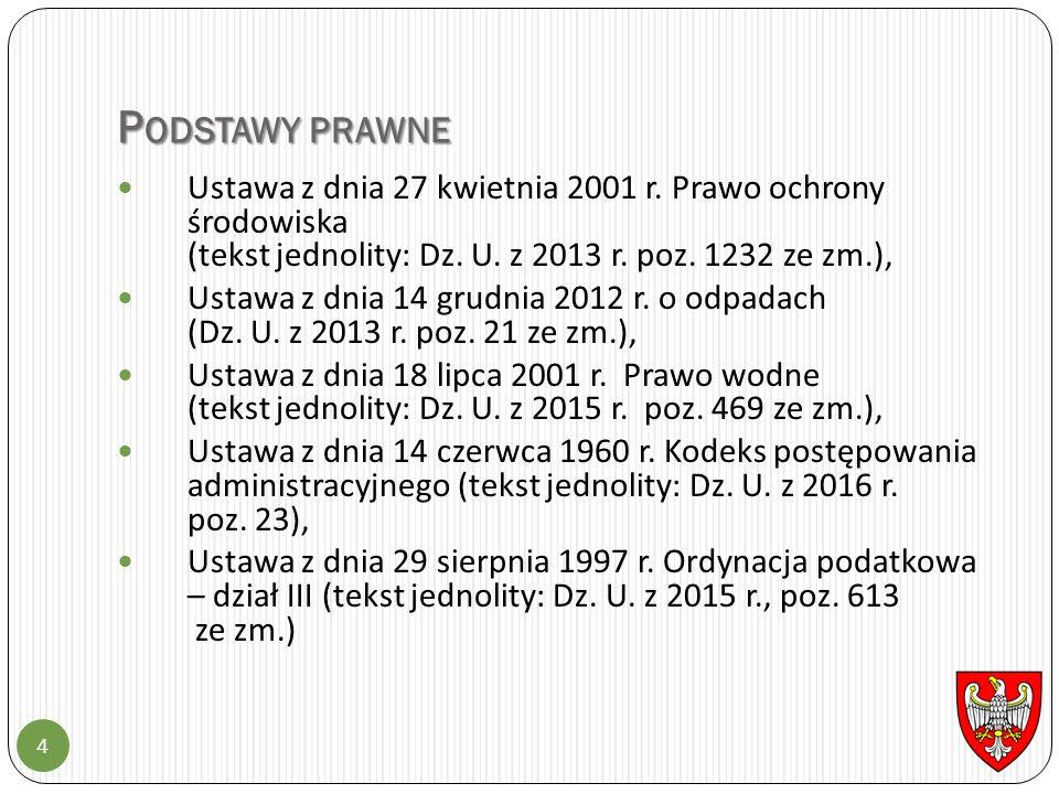 P ODSTAWY PRAWNE 4 Ustawa z dnia 27 kwietnia 2001 r.