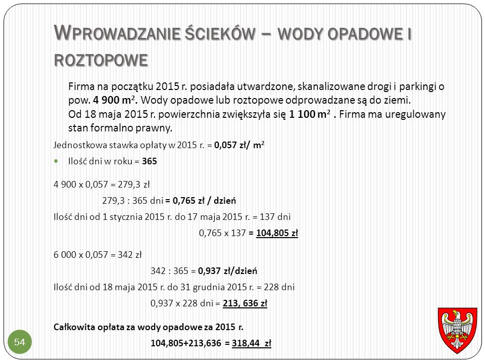 W PROWADZANIE ŚCIEKÓW – WODY OPADOWE I ROZTOPOWE 54 Firma na początku 2015 r. posiadała utwardzone, skanalizowane drogi i parkingi o pow. 4 900 m 2. W