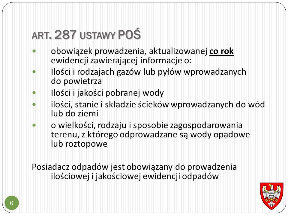 ART. 287 USTAWY POŚ 6 obowiązek prowadzenia, aktualizowanej co rok ewidencji zawierającej informacje o: Ilości i rodzajach gazów lub pyłów wprowadzany