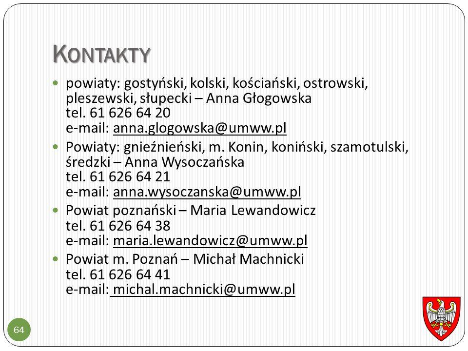K ONTAKTY 64 powiaty: gostyński, kolski, kościański, ostrowski, pleszewski, słupecki – Anna Głogowska tel. 61 626 64 20 e-mail: anna.glogowska@umww.pl