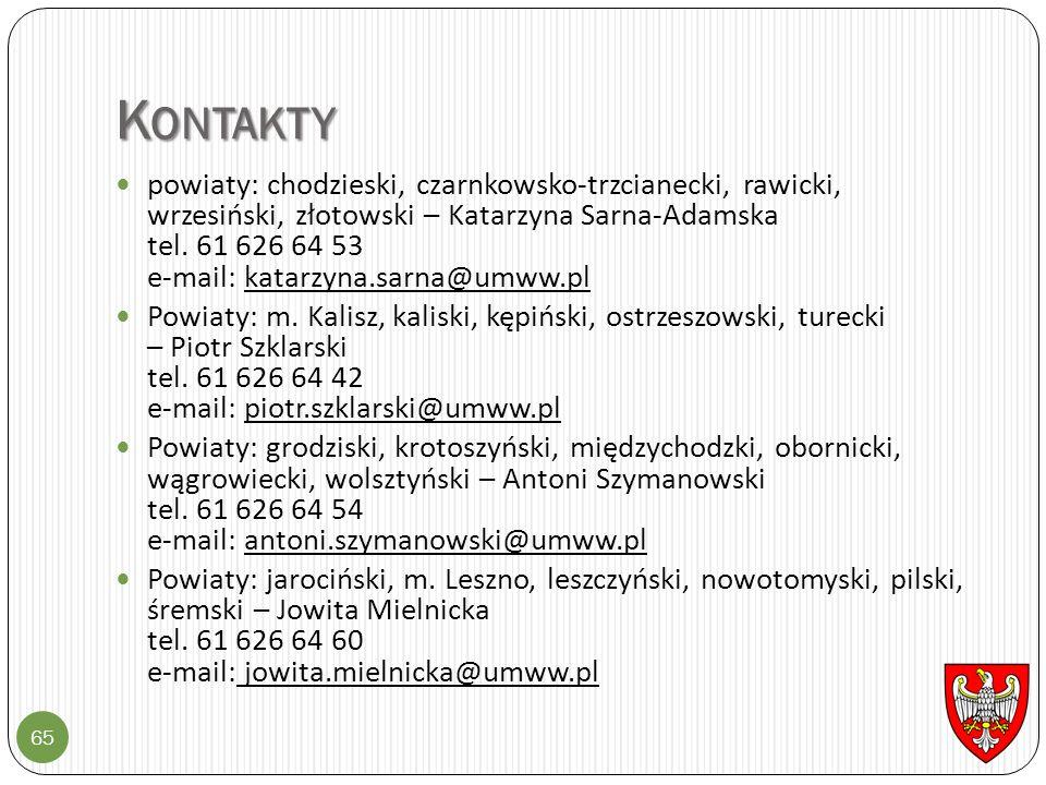 K ONTAKTY 65 powiaty: chodzieski, czarnkowsko-trzcianecki, rawicki, wrzesiński, złotowski – Katarzyna Sarna-Adamska tel. 61 626 64 53 e-mail: katarzyn