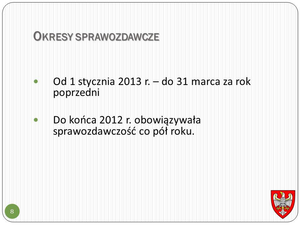 O KRESY SPRAWOZDAWCZE 8 Od 1 stycznia 2013 r. – do 31 marca za rok poprzedni Do końca 2012 r. obowiązywała sprawozdawczość co pół roku.