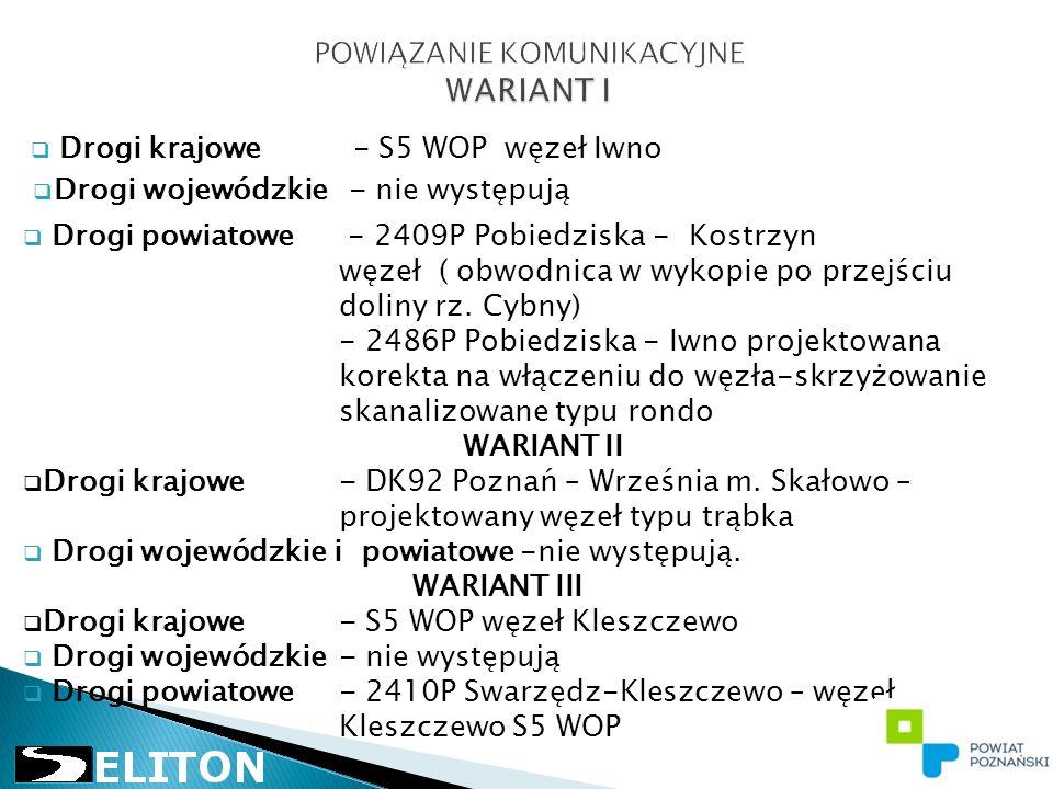  Drogi krajowe - S5 WOP węzeł Iwno  Drogi wojewódzkie - nie występują  Drogi powiatowe - 2409P Pobiedziska - Kostrzyn węzeł ( obwodnica w wykopie po przejściu doliny rz.