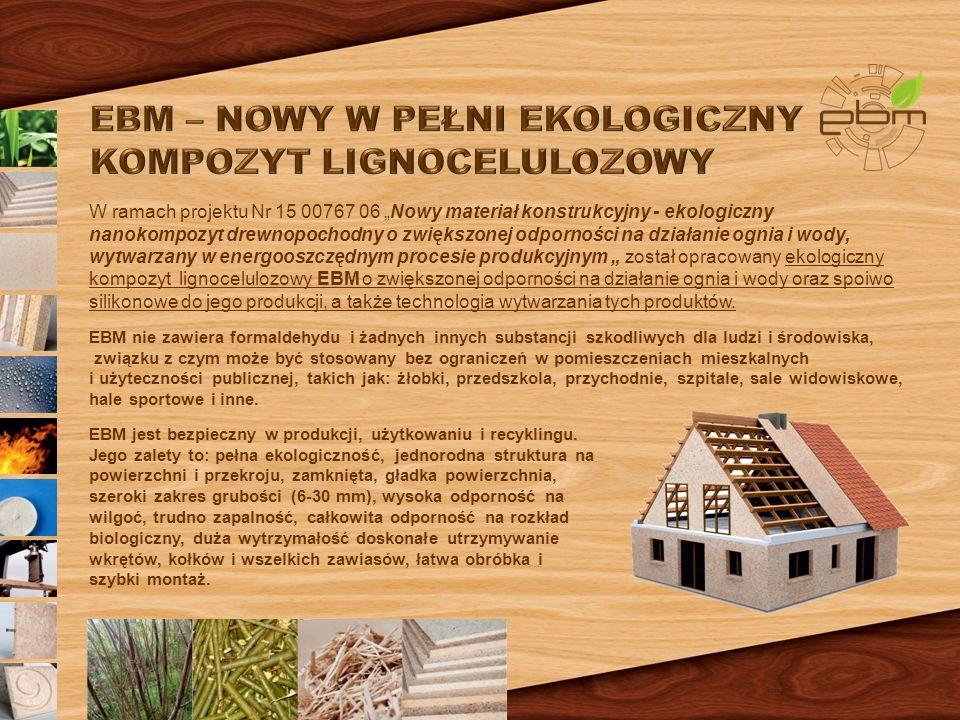 """W ramach projektu Nr 15 00767 06 """"Nowy materiał konstrukcyjny - ekologiczny nanokompozyt drewnopochodny o zwiększonej odporności na działanie ognia i wody, wytwarzany w energooszczędnym procesie produkcyjnym """" został opracowany ekologiczny kompozyt lignocelulozowy EBM o zwiększonej odporności na działanie ognia i wody oraz spoiwo silikonowe do jego produkcji, a także technologia wytwarzania tych produktów."""