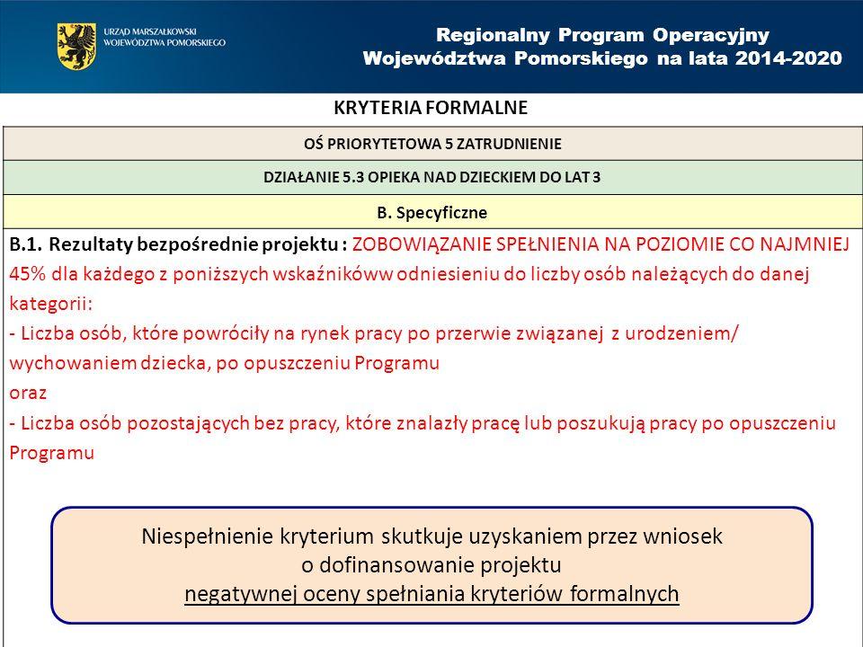 Regionalny Program Operacyjny Województwa Pomorskiego na lata 2014-2020 OŚ PRIORYTETOWA 5 ZATRUDNIENIE DZIAŁANIE 5.3 OPIEKA NAD DZIECKIEM DO LAT 3 B.