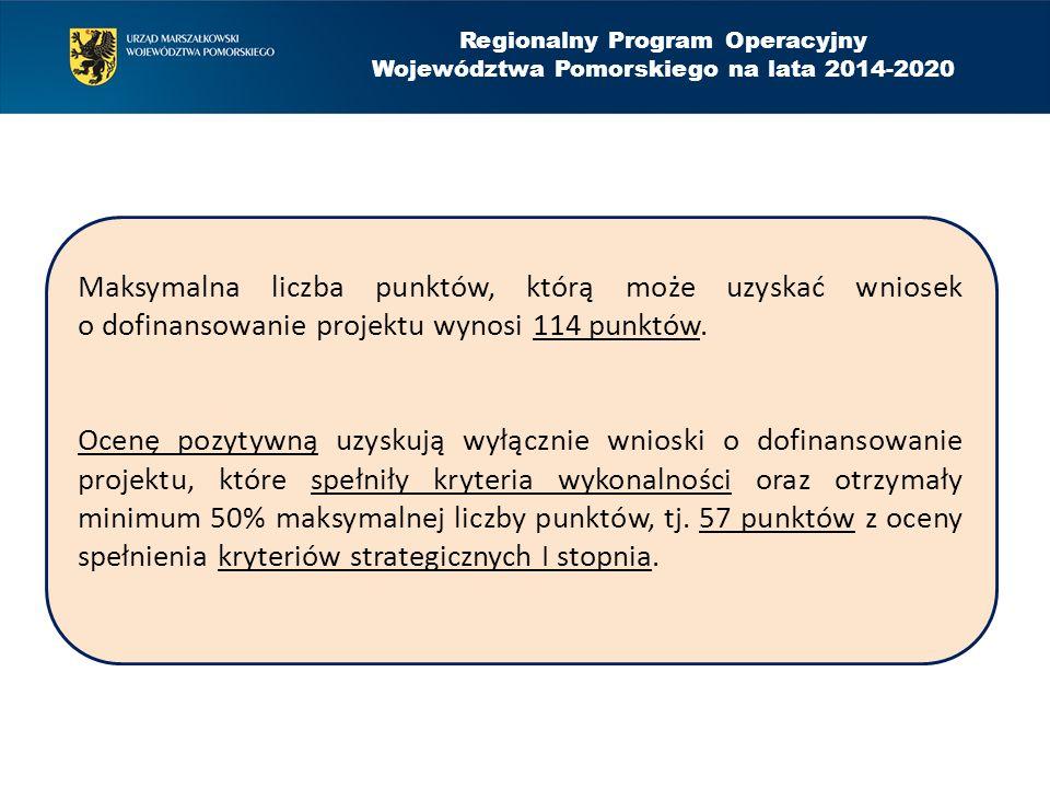 Regionalny Program Operacyjny Województwa Pomorskiego na lata 2014-2020 Maksymalna liczba punktów, którą może uzyskać wniosek o dofinansowanie projekt