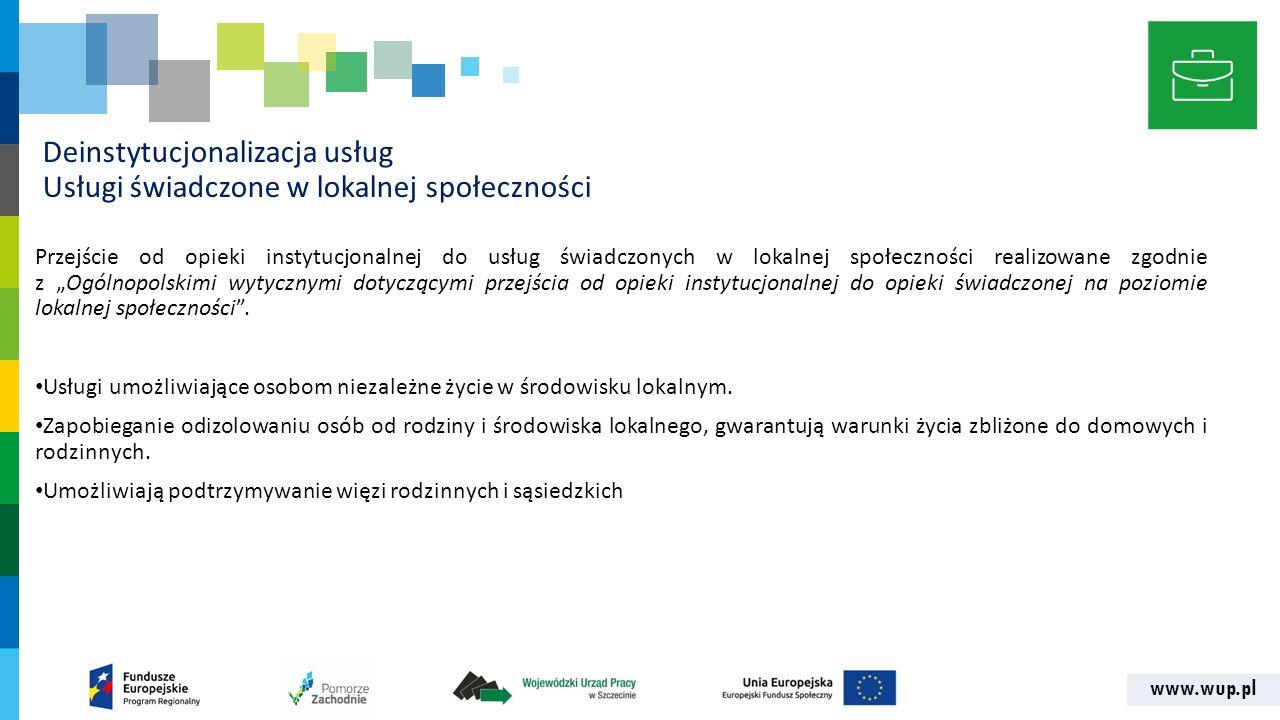 """www.wup.pl Deinstytucjonalizacja usług Usługi świadczone w lokalnej społeczności Przejście od opieki instytucjonalnej do usług świadczonych w lokalnej społeczności realizowane zgodnie z """"Ogólnopolskimi wytycznymi dotyczącymi przejścia od opieki instytucjonalnej do opieki świadczonej na poziomie lokalnej społeczności ."""