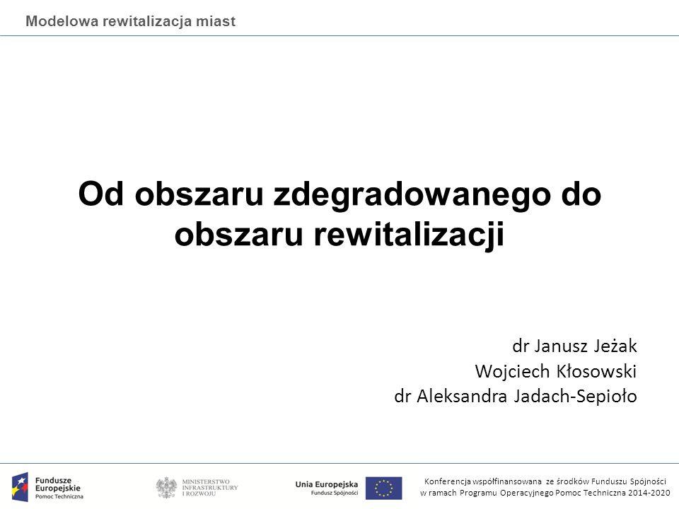 Konferencja współfinansowana ze środków Funduszu Spójności w ramach Programu Operacyjnego Pomoc Techniczna 2014-2020 Modelowa rewitalizacja miast Warsztaty realizowane przez Instytut Rozwoju Miast na zlecenie Ministerstwa Infrastruktury i Rozwoju