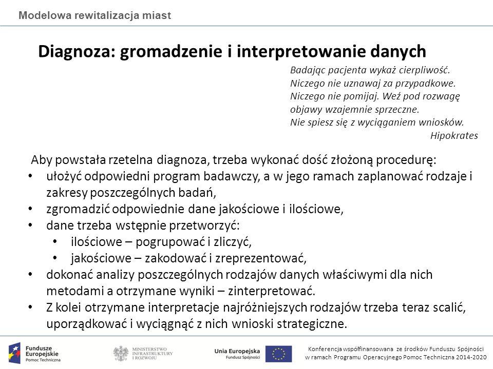 Konferencja współfinansowana ze środków Funduszu Spójności w ramach Programu Operacyjnego Pomoc Techniczna 2014-2020 Modelowa rewitalizacja miast Diagnoza: gromadzenie i interpretowanie danych Badając pacjenta wykaż cierpliwość.