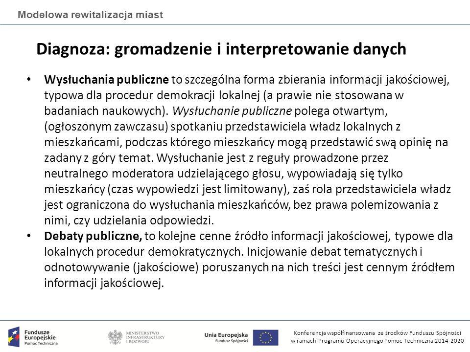 Konferencja współfinansowana ze środków Funduszu Spójności w ramach Programu Operacyjnego Pomoc Techniczna 2014-2020 Modelowa rewitalizacja miast Diagnoza: gromadzenie i interpretowanie danych Wysłuchania publiczne to szczególna forma zbierania informacji jakościowej, typowa dla procedur demokracji lokalnej (a prawie nie stosowana w badaniach naukowych).