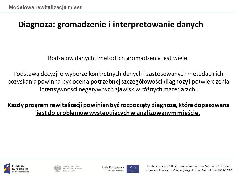 Konferencja współfinansowana ze środków Funduszu Spójności w ramach Programu Operacyjnego Pomoc Techniczna 2014-2020 Modelowa rewitalizacja miast Diagnoza: gromadzenie i interpretowanie danych Rodzajów danych i metod ich gromadzenia jest wiele.