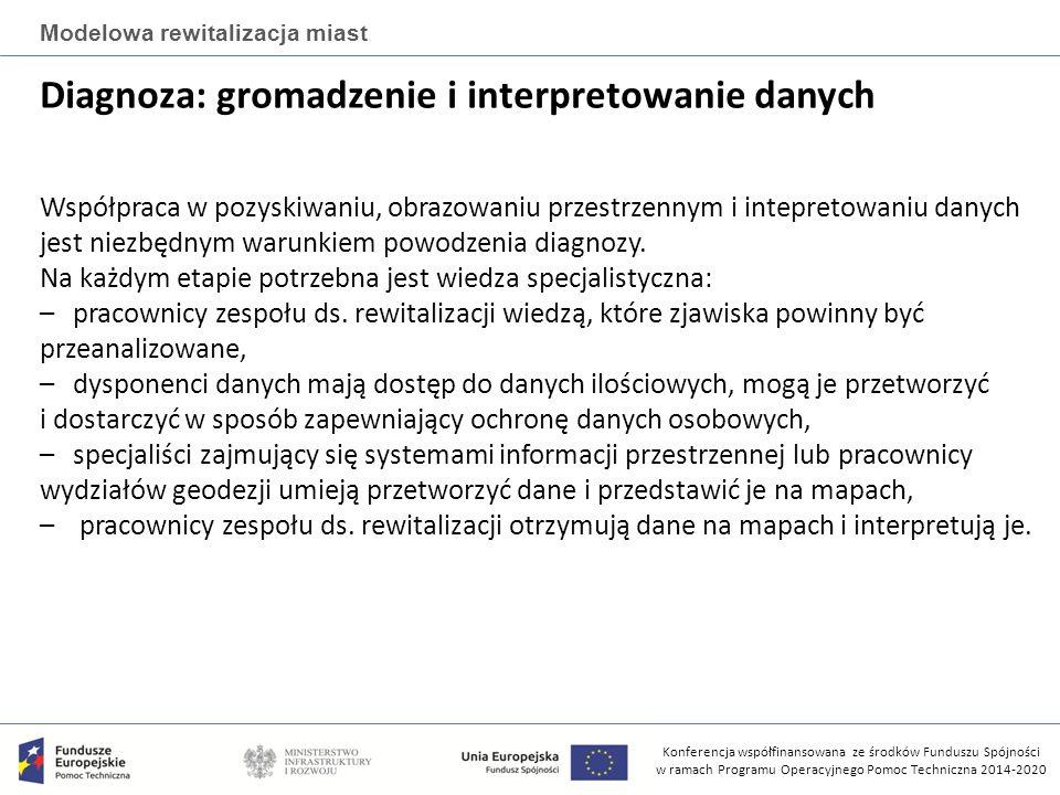Konferencja współfinansowana ze środków Funduszu Spójności w ramach Programu Operacyjnego Pomoc Techniczna 2014-2020 Modelowa rewitalizacja miast Diagnoza: gromadzenie i interpretowanie danych Współpraca w pozyskiwaniu, obrazowaniu przestrzennym i intepretowaniu danych jest niezbędnym warunkiem powodzenia diagnozy.