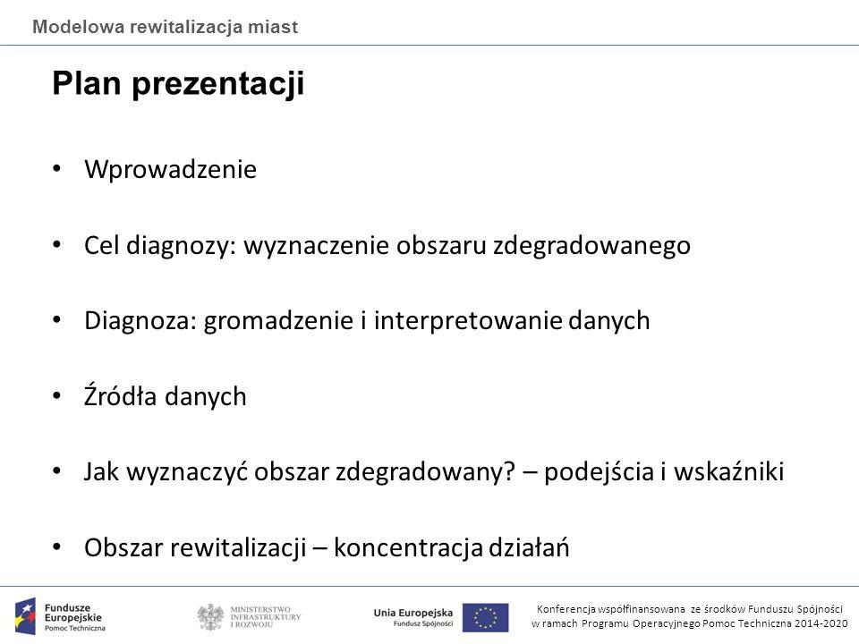 Konferencja współfinansowana ze środków Funduszu Spójności w ramach Programu Operacyjnego Pomoc Techniczna 2014-2020 Modelowa rewitalizacja miast Diagnoza: gromadzenie i interpretowanie danych Oto ogólny schemat dokonywania diagnozy strategicznej miasta/gminy z podziałem na cztery etapy: (1)tworzenie programu badawczego (2)zbieranie danych, (3)opracowywanie danych, (4)raport diagnostyczny.
