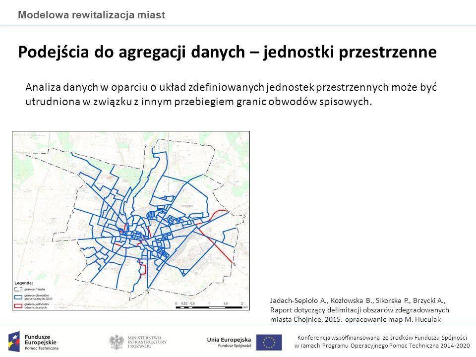 Konferencja współfinansowana ze środków Funduszu Spójności w ramach Programu Operacyjnego Pomoc Techniczna 2014-2020 Modelowa rewitalizacja miast Podejścia do agregacji danych – jednostki przestrzenne Analiza danych w oparciu o układ zdefiniowanych jednostek przestrzennych może być utrudniona w związku z innym przebiegiem granic obwodów spisowych.