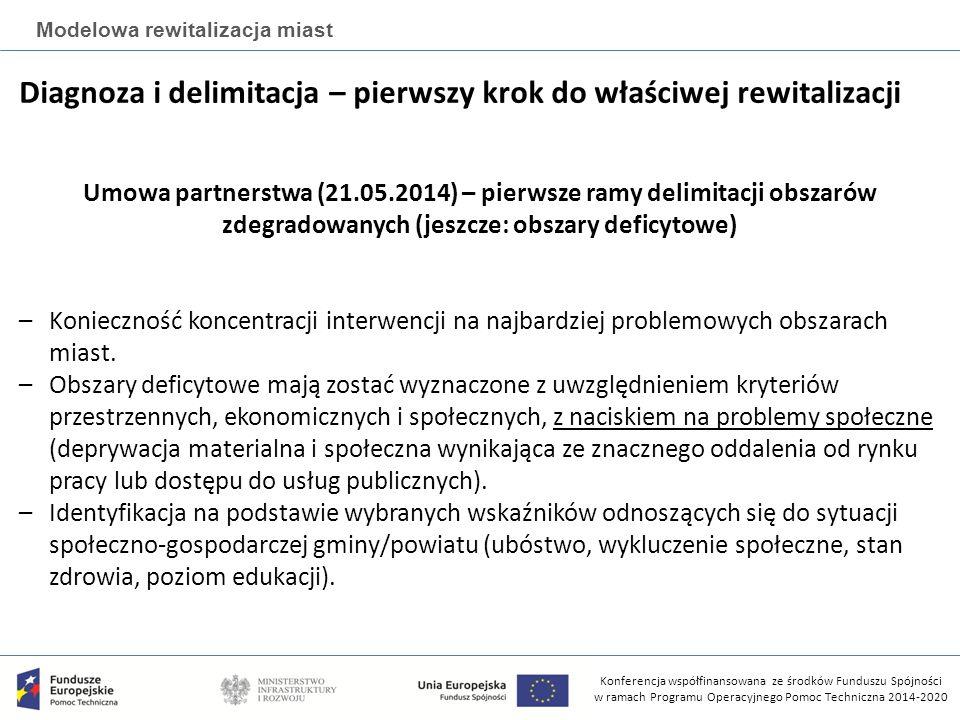 Konferencja współfinansowana ze środków Funduszu Spójności w ramach Programu Operacyjnego Pomoc Techniczna 2014-2020 Modelowa rewitalizacja miast Diagnoza i delimitacja – pierwszy krok do właściwej rewitalizacji Umowa partnerstwa (21.05.2014) – pierwsze ramy delimitacji obszarów zdegradowanych (jeszcze: obszary deficytowe) –Konieczność koncentracji interwencji na najbardziej problemowych obszarach miast.