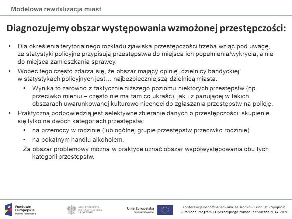 Konferencja współfinansowana ze środków Funduszu Spójności w ramach Programu Operacyjnego Pomoc Techniczna 2014-2020 Modelowa rewitalizacja miast Diagnozujemy obszar występowania wzmożonej przestępczości: Dla określenia terytorialnego rozkładu zjawiska przestępczości trzeba wziąć pod uwagę, że statystyki policyjne przypisują przestępstwa do miejsca ich popełnienia/wykrycia, a nie do miejsca zamieszkania sprawcy.