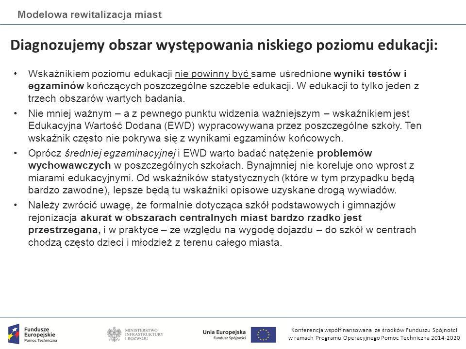 Konferencja współfinansowana ze środków Funduszu Spójności w ramach Programu Operacyjnego Pomoc Techniczna 2014-2020 Modelowa rewitalizacja miast Diagnozujemy obszar występowania niskiego poziomu edukacji: Wskaźnikiem poziomu edukacji nie powinny być same uśrednione wyniki testów i egzaminów kończących poszczególne szczeble edukacji.