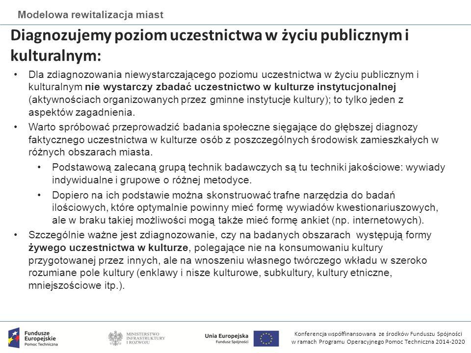 Konferencja współfinansowana ze środków Funduszu Spójności w ramach Programu Operacyjnego Pomoc Techniczna 2014-2020 Modelowa rewitalizacja miast Diagnozujemy poziom uczestnictwa w życiu publicznym i kulturalnym: Dla zdiagnozowania niewystarczającego poziomu uczestnictwa w życiu publicznym i kulturalnym nie wystarczy zbadać uczestnictwo w kulturze instytucjonalnej (aktywnościach organizowanych przez gminne instytucje kultury); to tylko jeden z aspektów zagadnienia.