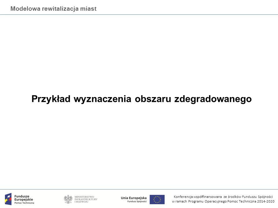 Konferencja współfinansowana ze środków Funduszu Spójności w ramach Programu Operacyjnego Pomoc Techniczna 2014-2020 Modelowa rewitalizacja miast Przykład wyznaczenia obszaru zdegradowanego