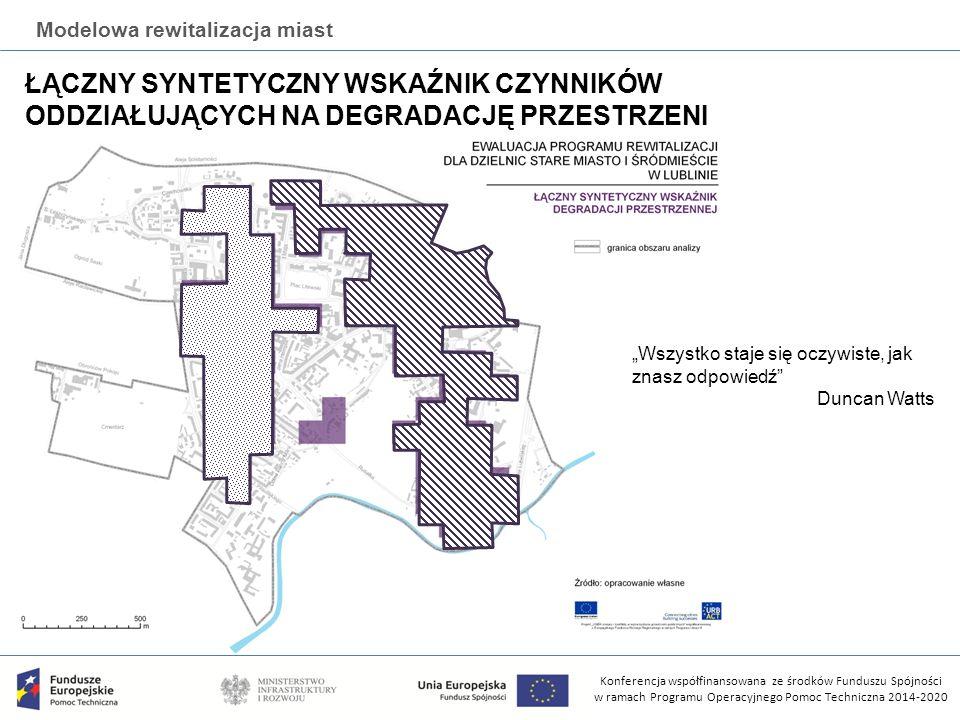 """Konferencja współfinansowana ze środków Funduszu Spójności w ramach Programu Operacyjnego Pomoc Techniczna 2014-2020 Modelowa rewitalizacja miast ŁĄCZNY SYNTETYCZNY WSKAŹNIK CZYNNIKÓW ODDZIAŁUJĄCYCH NA DEGRADACJĘ PRZESTRZENI """"Wszystko staje się oczywiste, jak znasz odpowiedź Duncan Watts"""